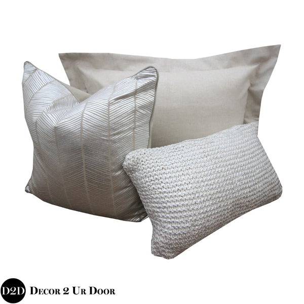 Tan & Metallic Silver Herringbone Pillow Pile