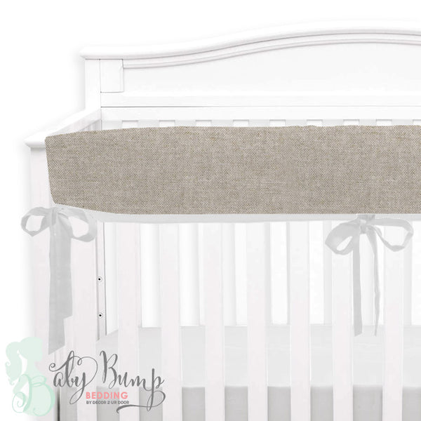 Tan & White Linen Baby Crib Rail Cover