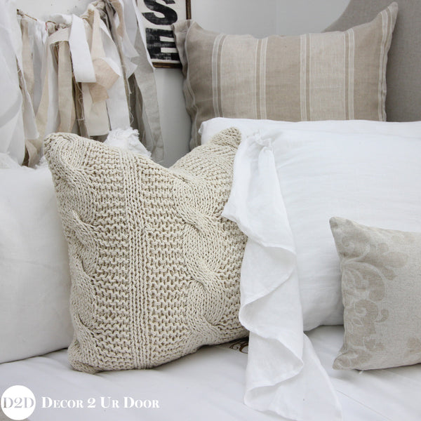 Tan & White Linen Pillow Pile