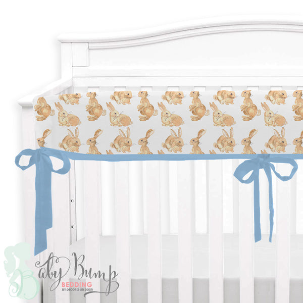 Watercolor Bunny Baby Crib Rail Cover
