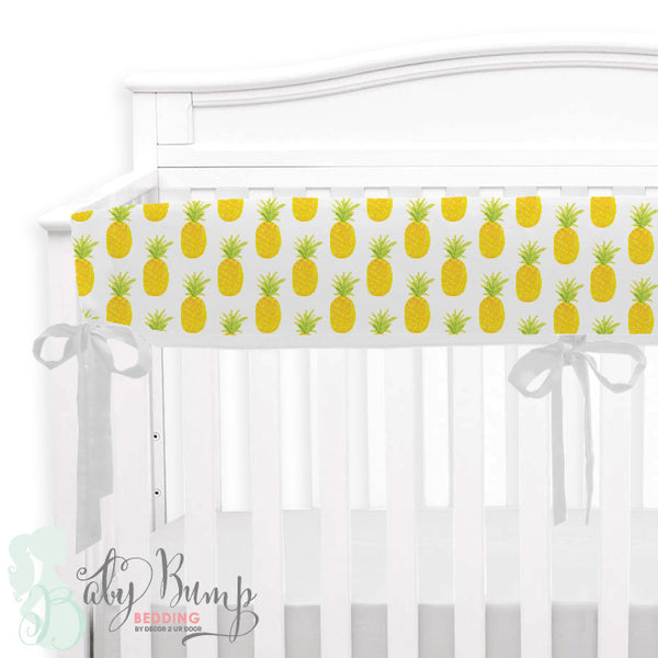 Watercolor Pineapple Baby Crib Rail Cover