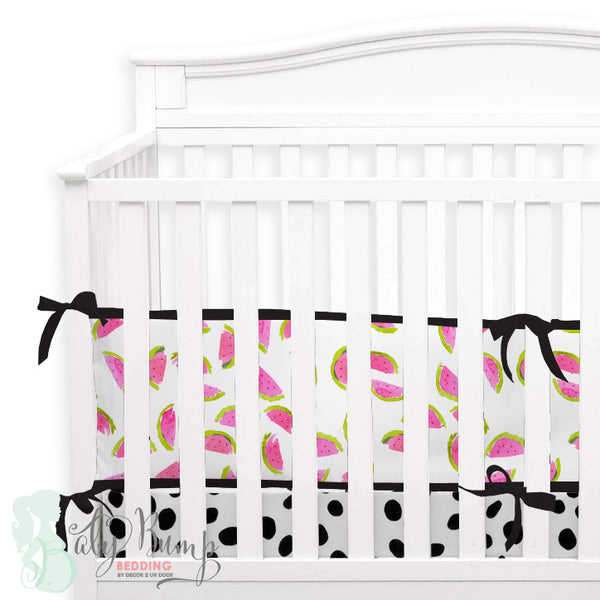 Watercolor Watermelon 2-in-1 Crib Bumper/Rail Cover