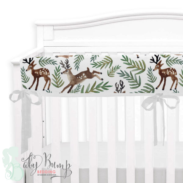 Watercolor Woodland Deer Baby Crib Rail Cover