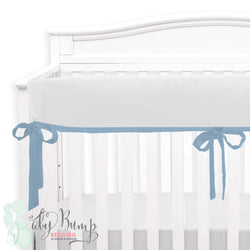 Solid White Linen & Baby Blue Crib Rail Cover