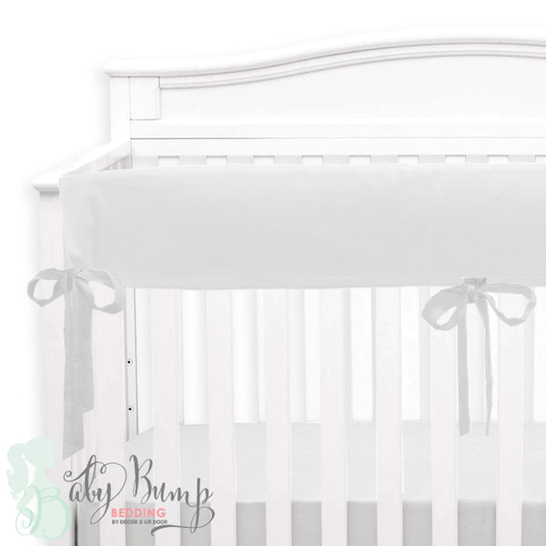 Solid White Linen 2-in-1 Crib Bumper/Rail Cover