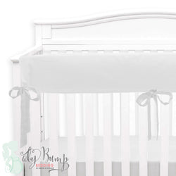 Solid White Linen Baby Crib Rail Cover