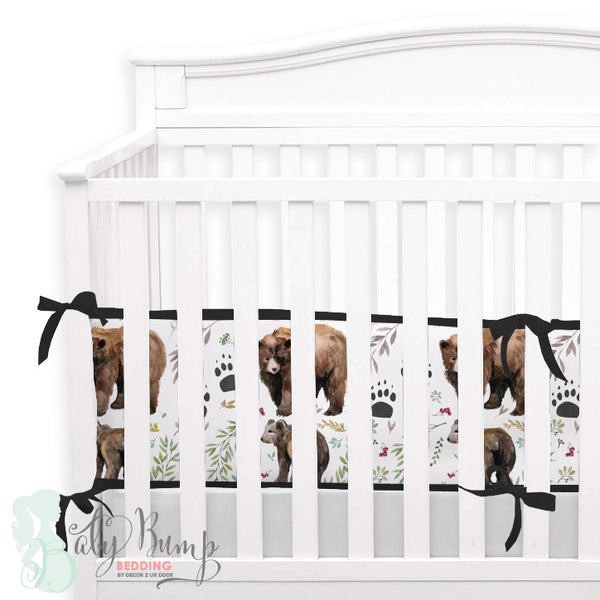 Adventure Woodland Bear Cub 2-in-1 Crib Bumper/Rail Cover