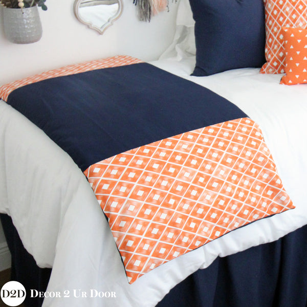 Navy & Orange Bed Scarf