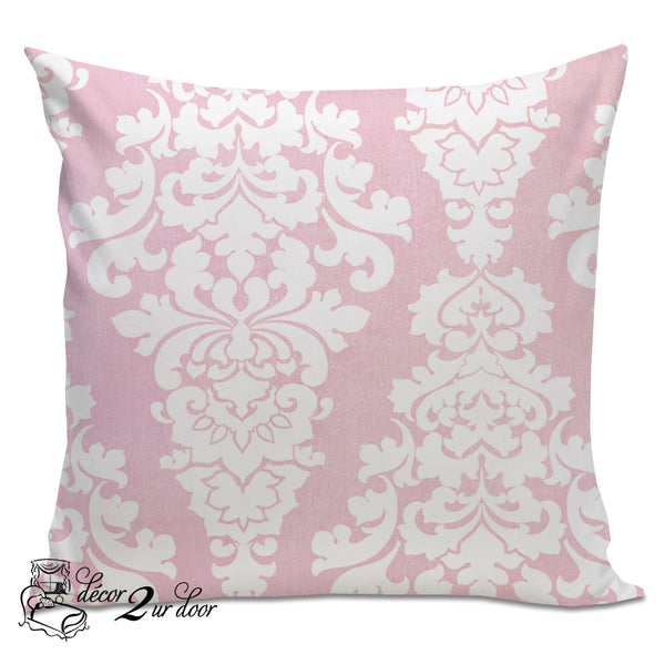 Bella Pink Berlin Damask Designer Euro Pillow Cover