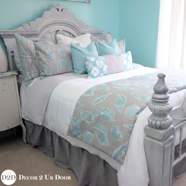 Blue & Grey Sand Dollar Designer Coastal Bedding Collection