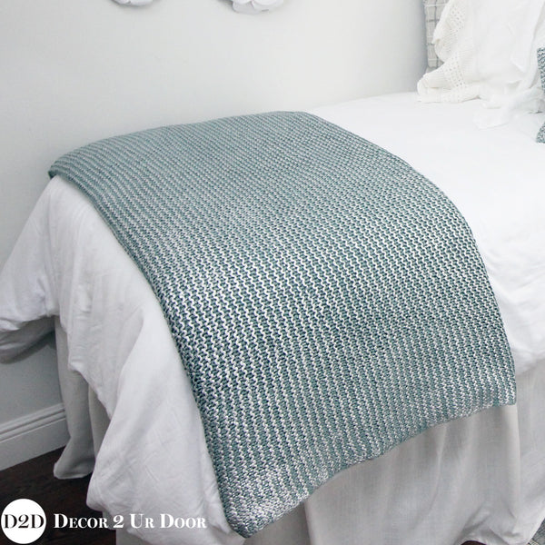 Metallic Silver & Blue Knitted Design Throw