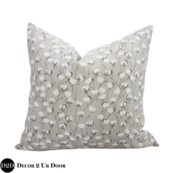 Farmhouse Cotton Plant Print Square Pillow Cover