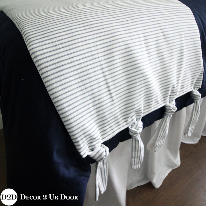 Farmhouse Navy & White Ticking Stripe & Ties Bed Scarf