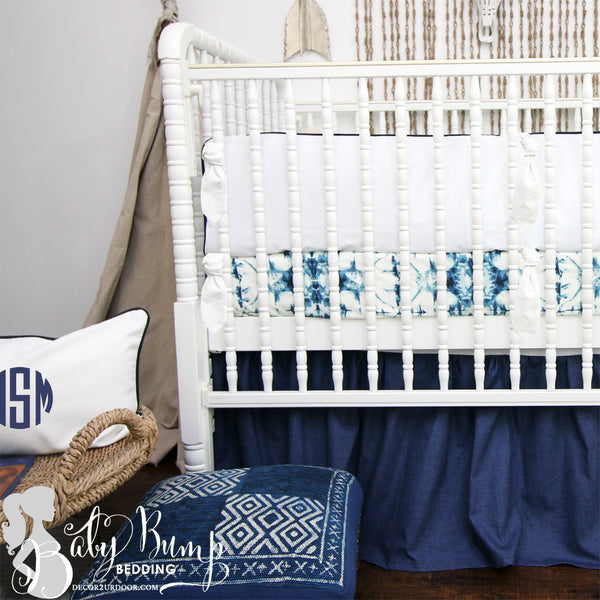 Solid White & Navy 2-in-1 Crib Bumper/Rail Cover