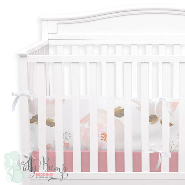 Pastel Floral 2-in-1 Crib Bumper/Rail Cover