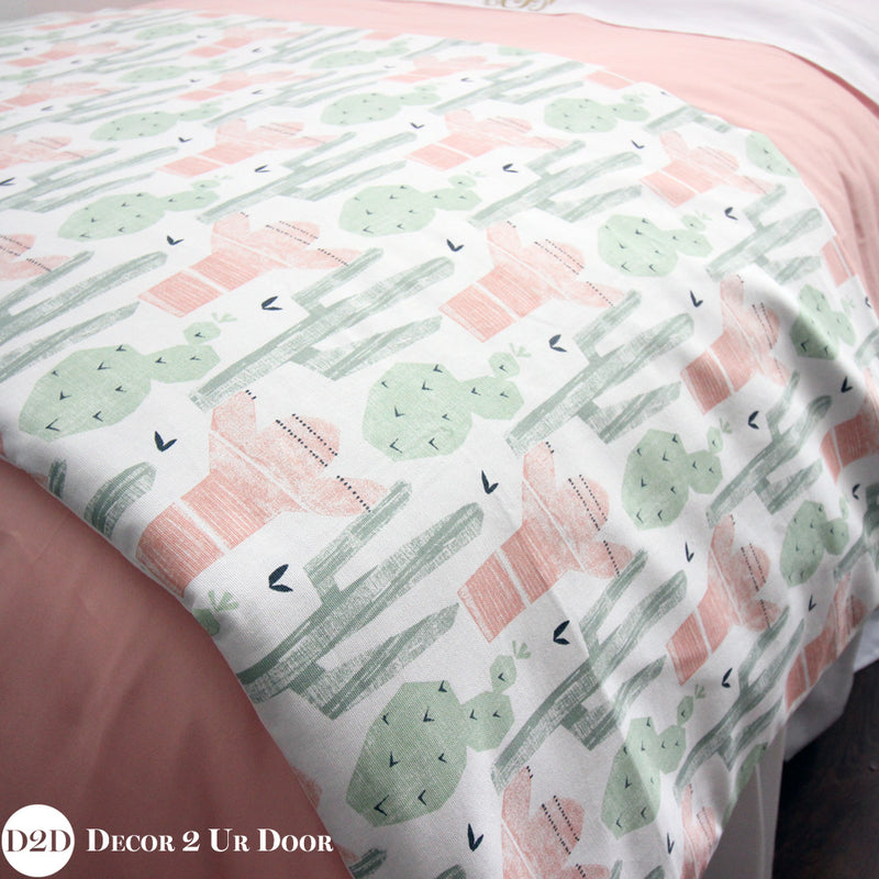 Peach & Green Cactus Print Bed Scarf