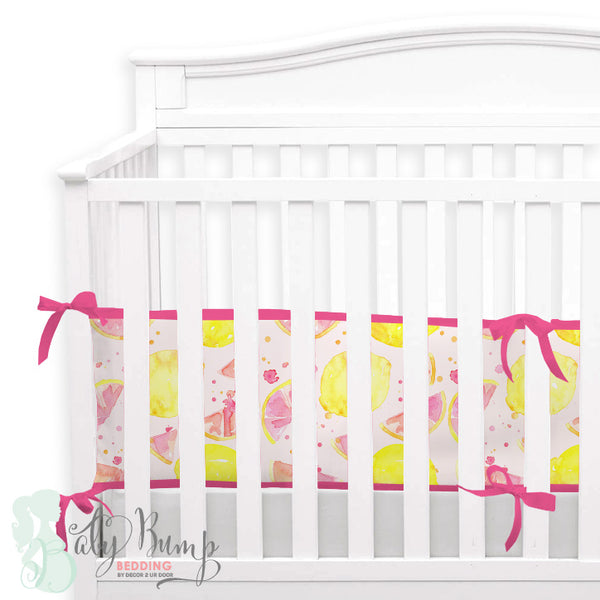 Watercolor Pink Lemonade 2-in-1 Crib Bumper/Rail Cover