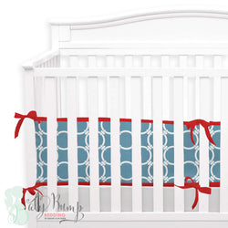 Red & Light Blue 2-in-1 Crib Bumper/Rail Cover