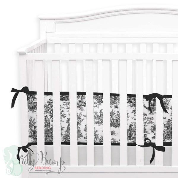 Shabby Chic Black & White Toile 2-in-1 Crib Bumper/Rail Cover