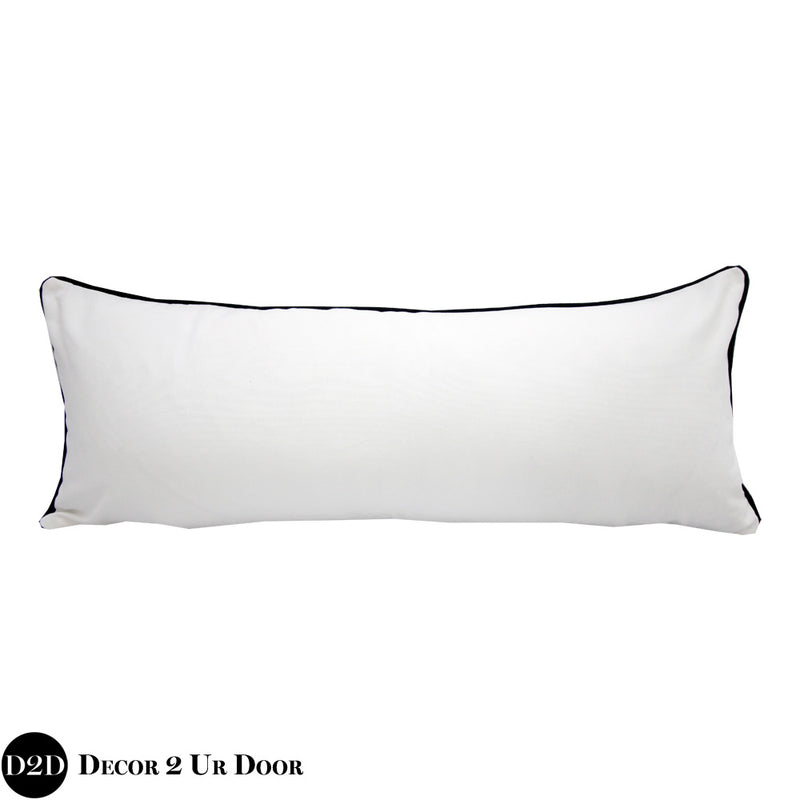 Solid White & Navy Trim Long Lumbar Pillow Cover