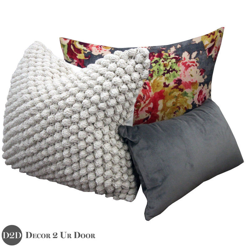 Grey & Multicolor Floral Velvet Pillow Pile