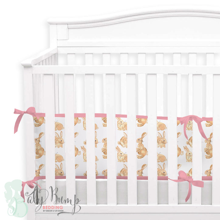 Watercolor Bunny 2-in-1 Crib Bumper/Rail Cover