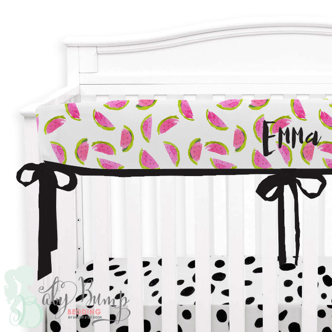 Watercolor Watermelon Baby Crib Rail Cover