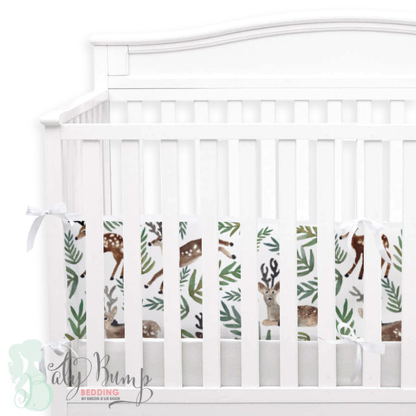 Watercolor Woodland Deer 2-in-1 Crib Bumper/Rail Cover