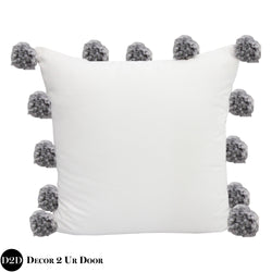 Solid White & Grey Pom Poms Euro Pillow Cover