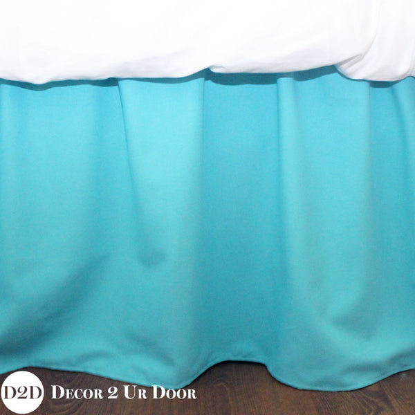 Mandarin Blue Dorm Bed Skirt & Headboard Bundle