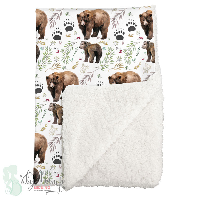 Adventure Woodland Bear Cub Sherpa Baby Blanket