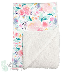 Bright and Beautiful Watercolor Floral Sherpa Baby Blanket