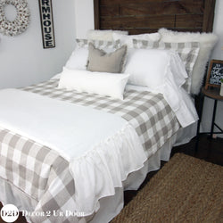 Farmhouse Tan Gingham Plaid Designer Bedding Collection