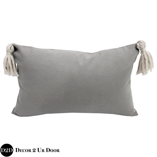Grey Tassel Lumbar Pillow Cover