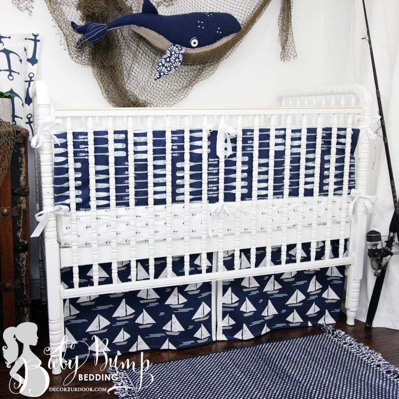 Navy Nautical Baby Crib Skirt