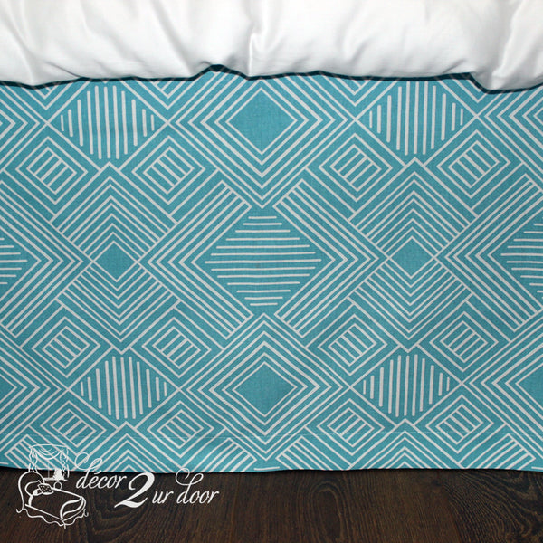 Coastal Blue Phase Designer Dorm Bed Skirt