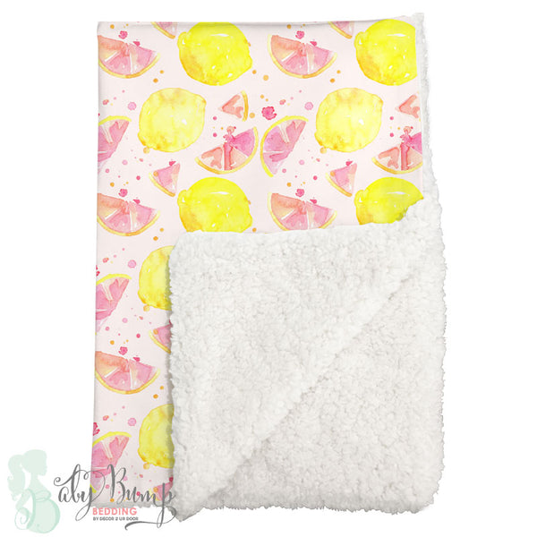 Watercolor Pink Lemonade Sherpa Baby Blanket