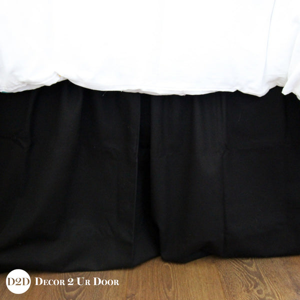 Solid Black Dorm Bed Skirt & Headboard Bundle