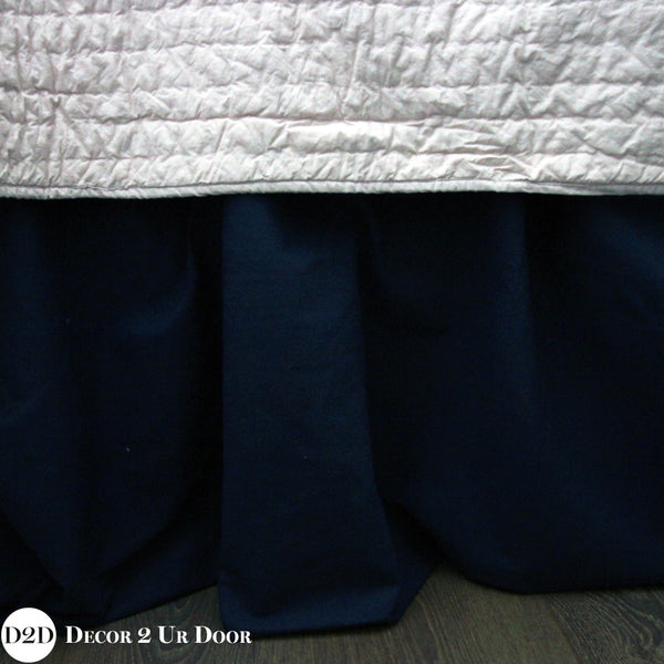 Solid Navy Dorm Bed Skirt & Headboard Bundle