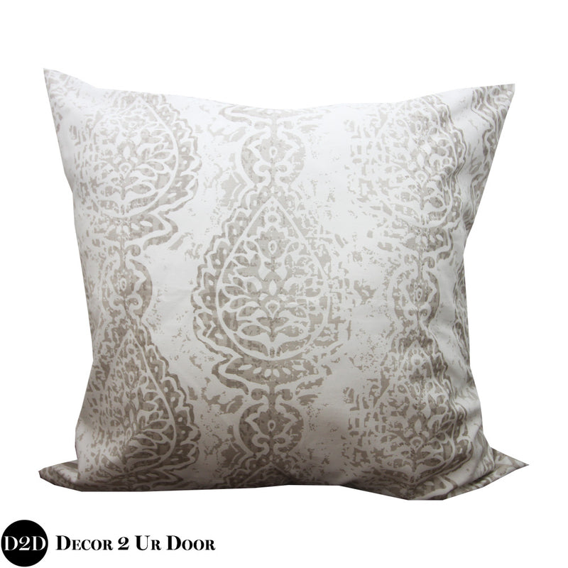 Tan & White Manchester Euro Pillow Cover