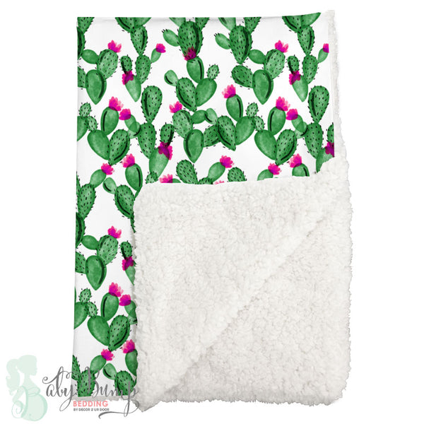 Watercolor Cactus and Hot Pink Sherpa Baby Blanket