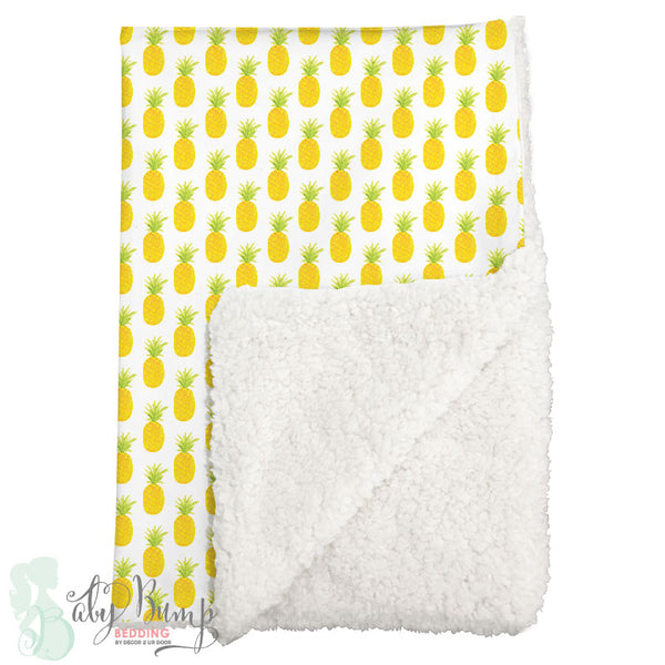 Watercolor Pineapple Sherpa Baby Blanket