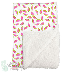 Watercolor Watermelon Sherpa Baby Blanket