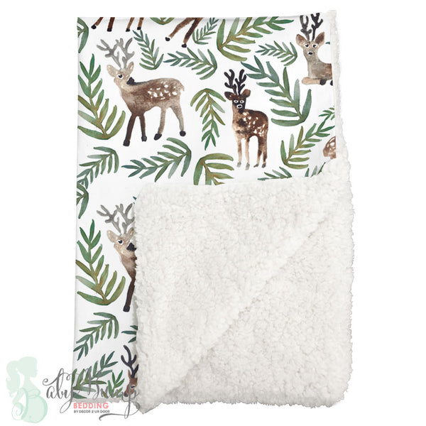 Watercolor Woodland Deer Sherpa Baby Blanket