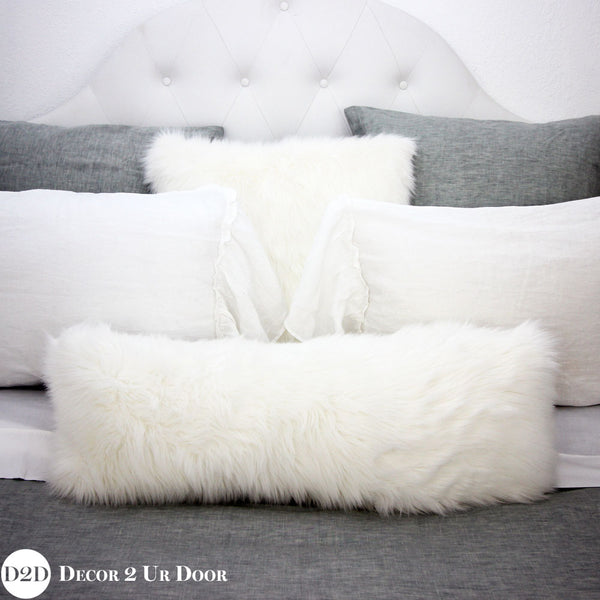White Faux Fur Long Lumbar Pillow Cover