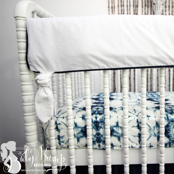 Solid White & Navy Trim Baby Crib Rail Cover