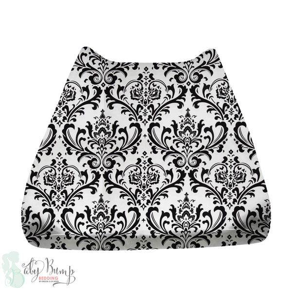 Black & White Damask Baby Changing Pad Cover