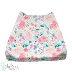 Bright and Beautiful Watercolor Floral Baby Changing Pad Cover
