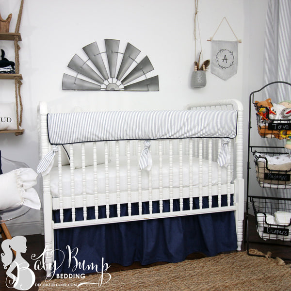 Jackson Navy and White Baby Crib Skirt