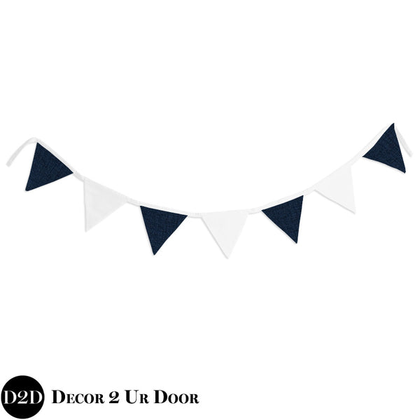 Jackson Navy & White Wall Fabric Pennant Banner